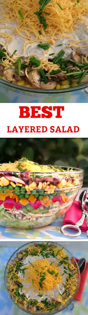 Quick & Easy, low-fat Layered Salad ~ best I have ever tasted and you can make it ahead of time !