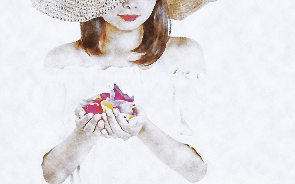 水彩画の両手に花を持つ女性