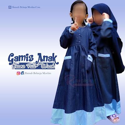 Gamis Anak Bahan Jeans Full Wash Navy