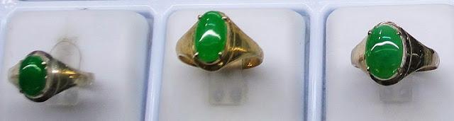 myanmar jadeite rings from a jade shop
