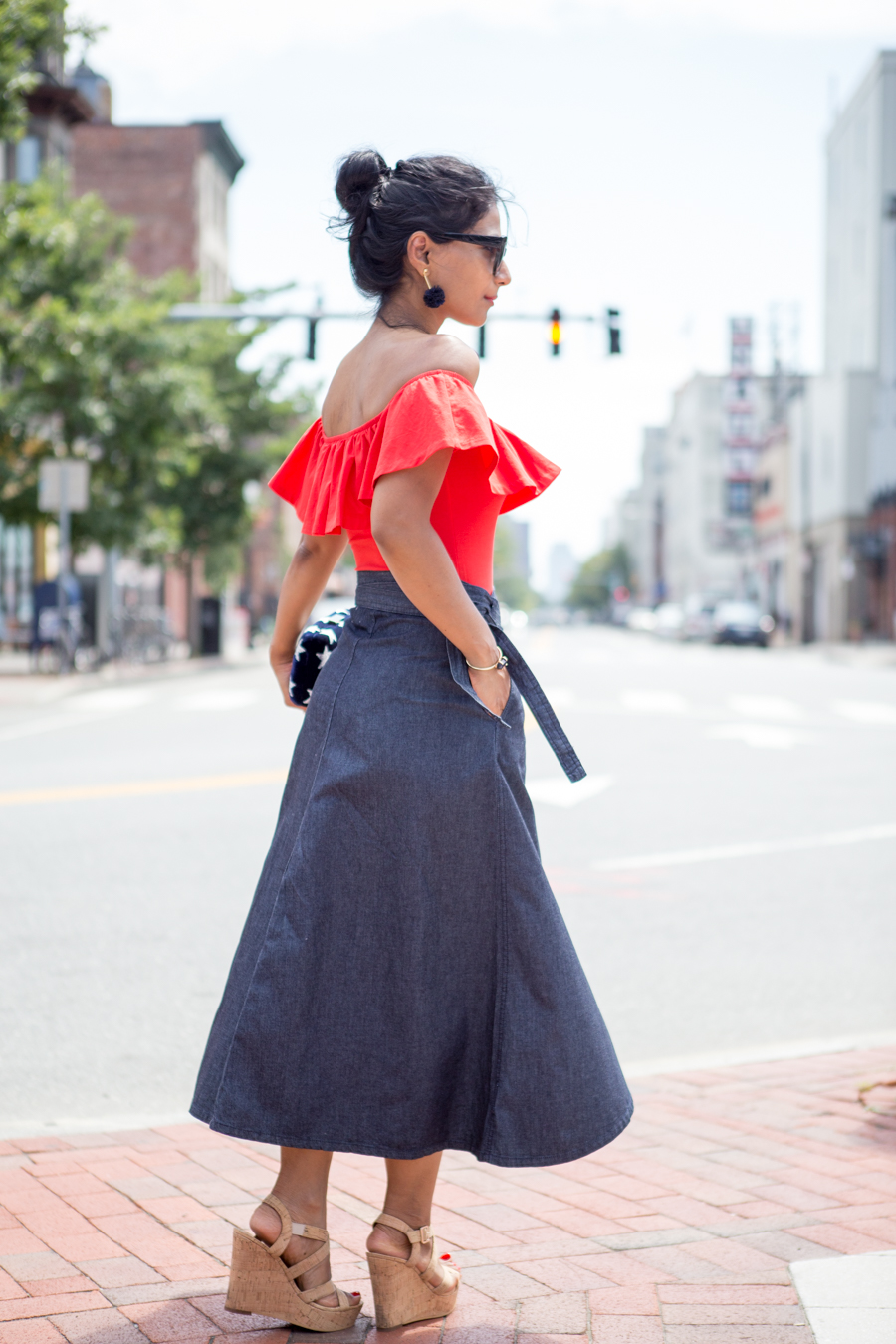 summer sales, independence day, july 4 style, red white and blue, classic denim, ruffle top, body suit, off the shoulder, summer style, wardrobe staples, nordstrom, kayu, gap, shopbop, petite fashion, petite style, boston style, street style, 40 plus style
