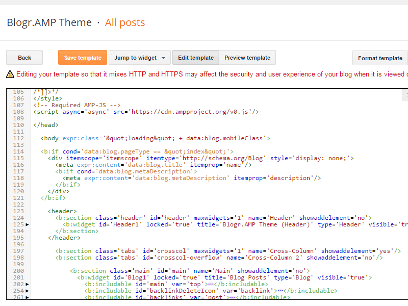 Add HTML5 tags/ elements on Blogger template with AMP