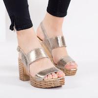 Sandale Piele Linares aurii cu toc gros • modlet