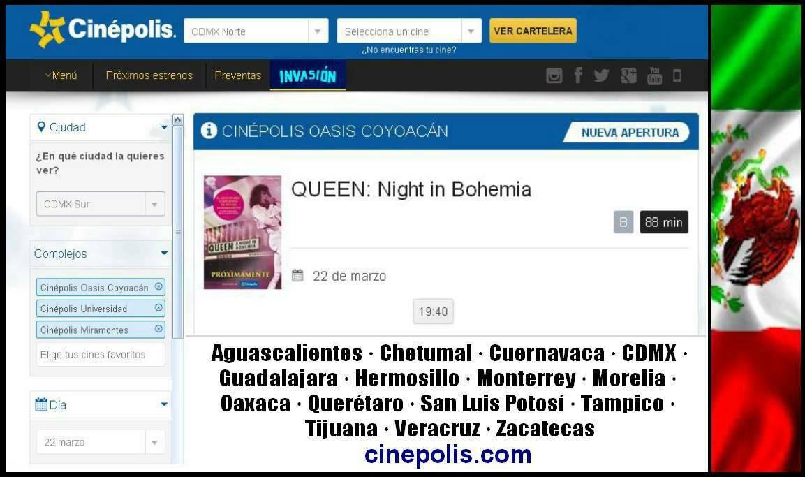 Queen en m xico queen a night in bohemia m xico 23 for Oasis coyoacan cinepolis