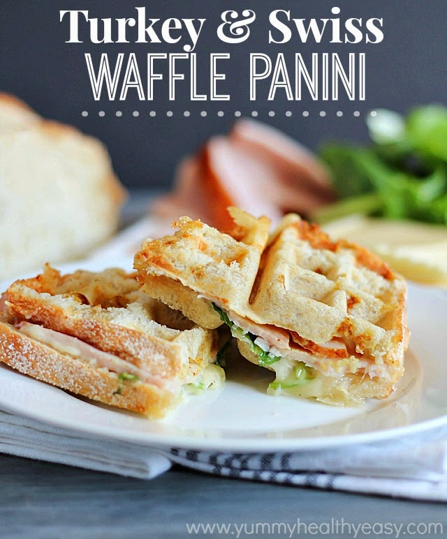 Turkey & Swiss Waffle Panini (use a waffle iron instead of a panini press- genius!)