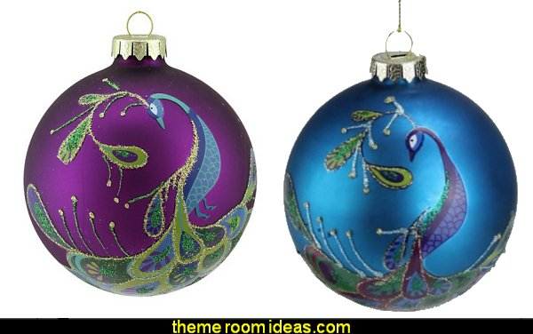 Peacock Turquoise Blue Glass Ball Christmas Ornament