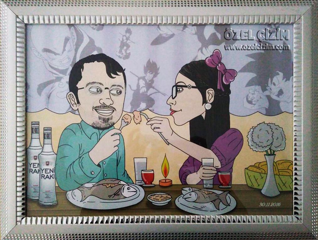 eşinize hediye, kocama hediye, erkeğe farklı hediye, komik hediye, hediye karikatür, karikatür portre, hediye portre, rakı balık, eş karikatürü, Özel Çizim, Doğum günü hediyesi, doğum günü