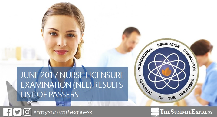 List of Passers: June 2017 NLE Results Nursing Board Exam