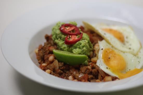 Vegetarian chilli and eggs recipe