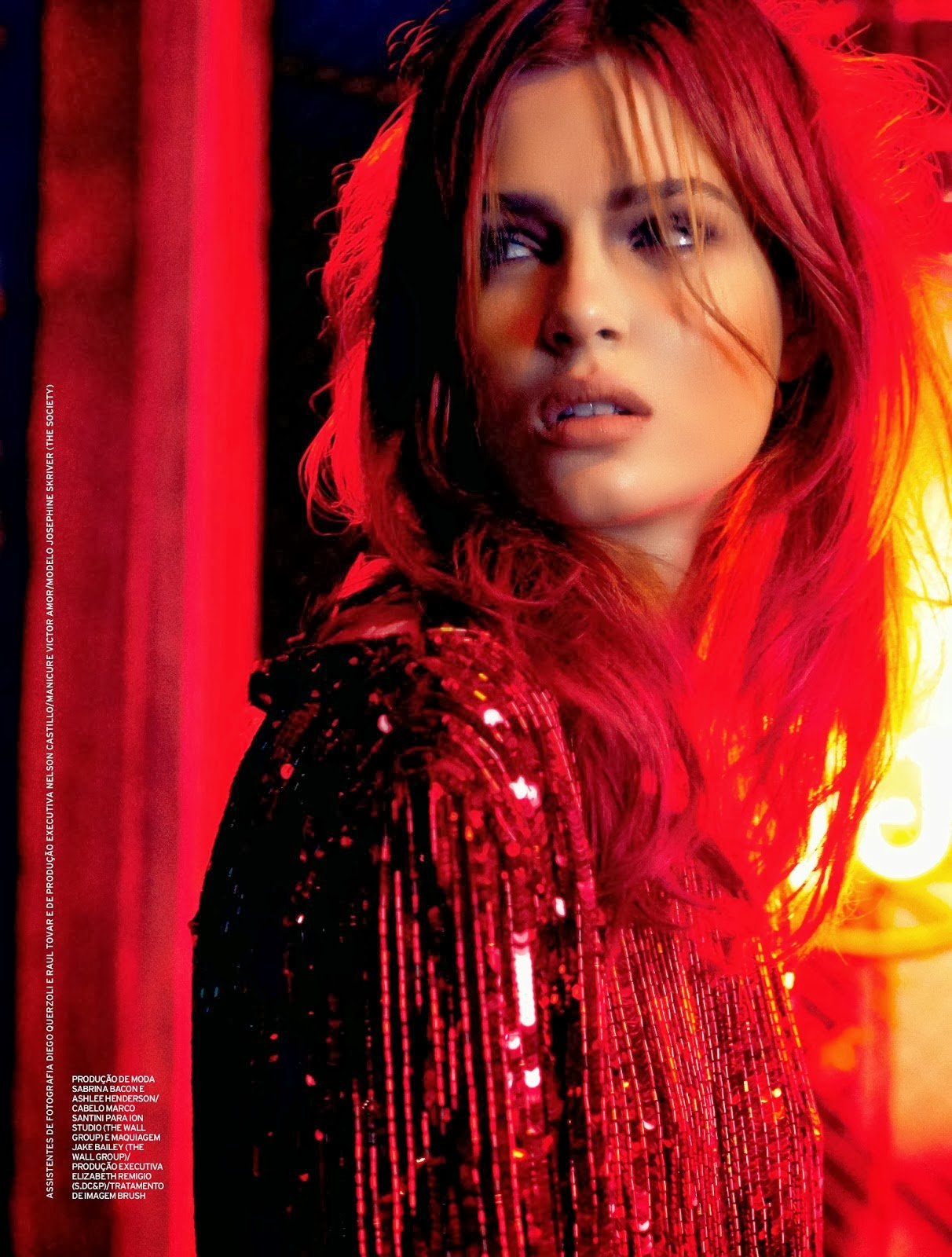 Sequin jacket on Josephine Skriver in Elle Brazil