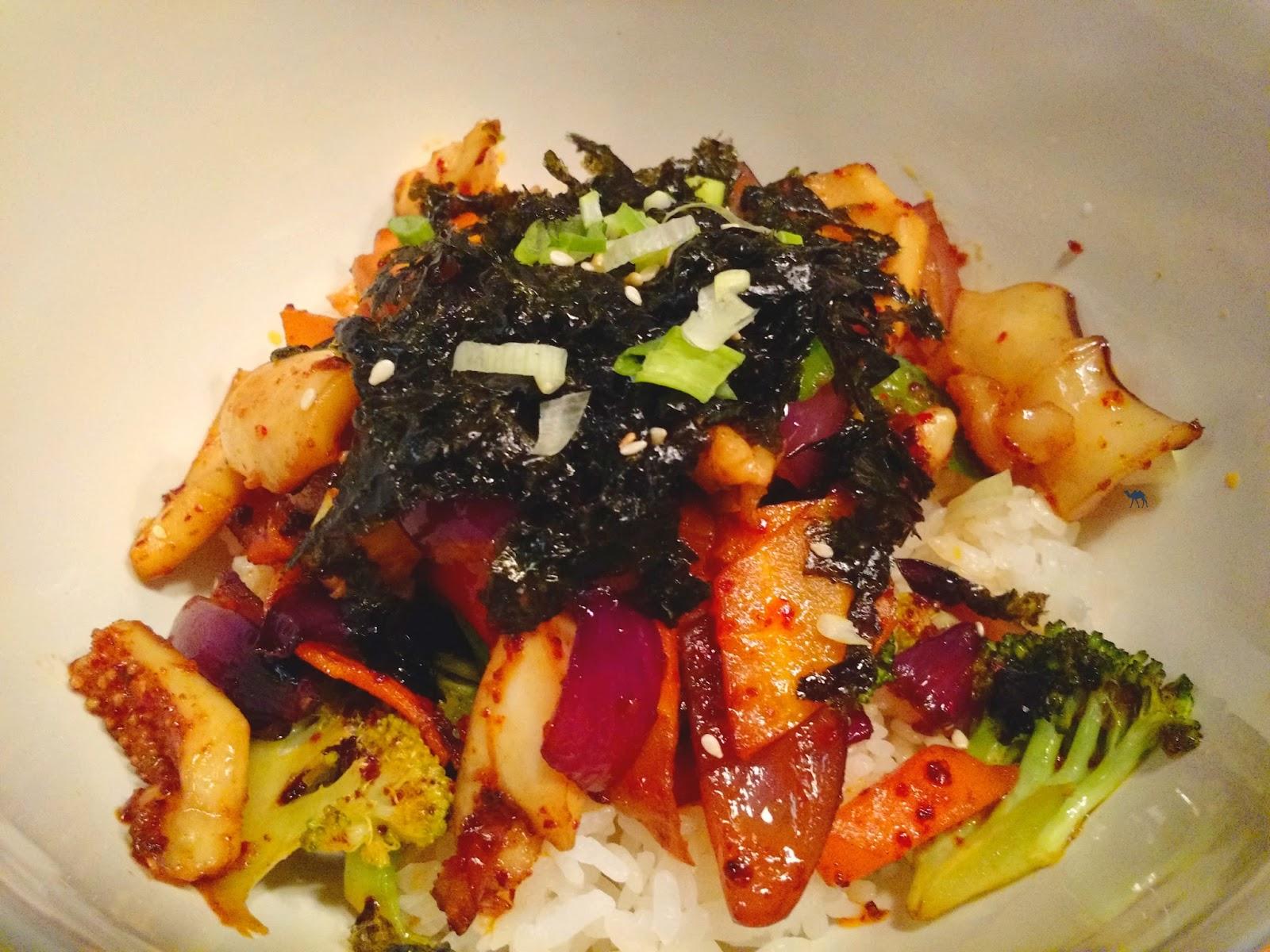 Le Chameau Bleu - Blog Gastronomie Mee Bistro Coréen Paris - Ojingho Bokum chez Mee - Plat Coréen