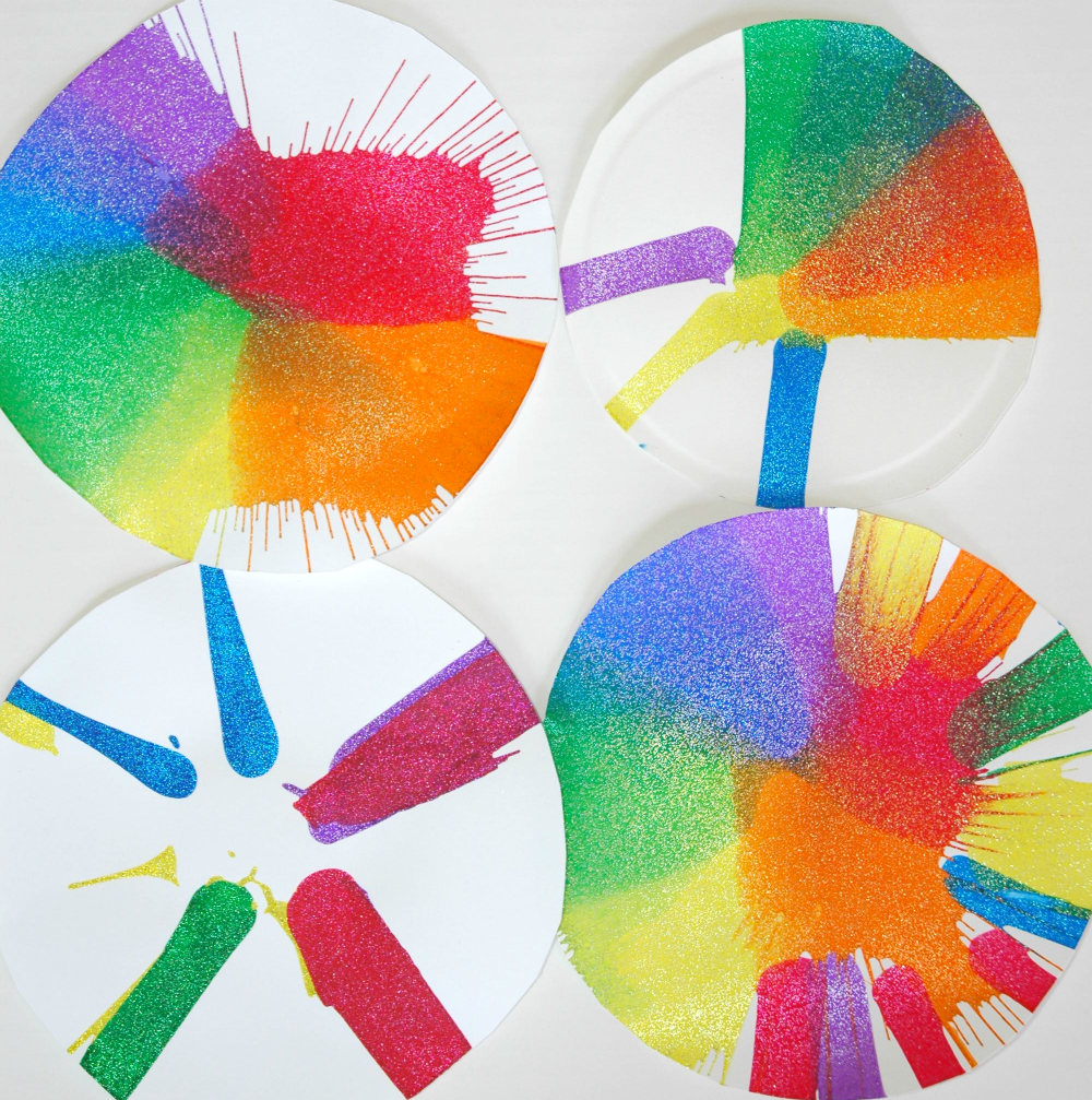 Rainbow Spin Art Process Painting for Preschool