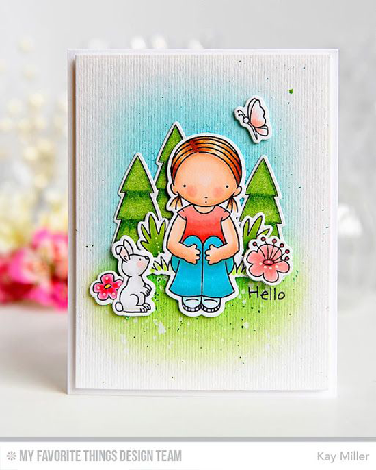 Easter Hello Card by Kay Miller featuring the Prehistoric Fun and Pure Innocence Spring Friends stamp sets and Die-namics #mftstamps