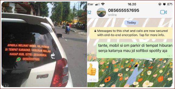 Suami Sering Singgah Ke Tempat Hiburan Malam, Istri Terpaksa Pasang Nomer Aduhan Di Mobil