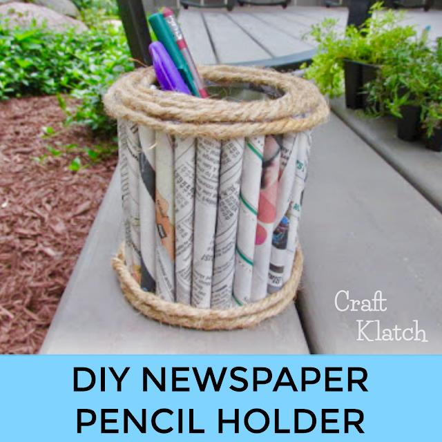 DIY Newspaper pencil holder