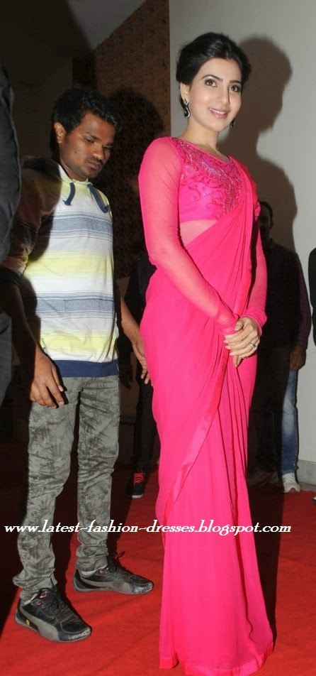 samantha pink colour saree image