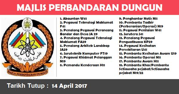 Jawatan Kosong di Majlis Perbandaran Dungun (MPD)