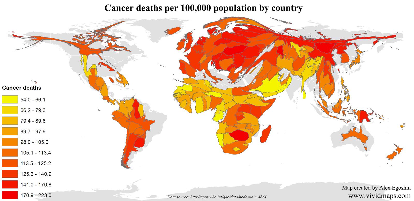 Cancer deaths per 100,000 Population