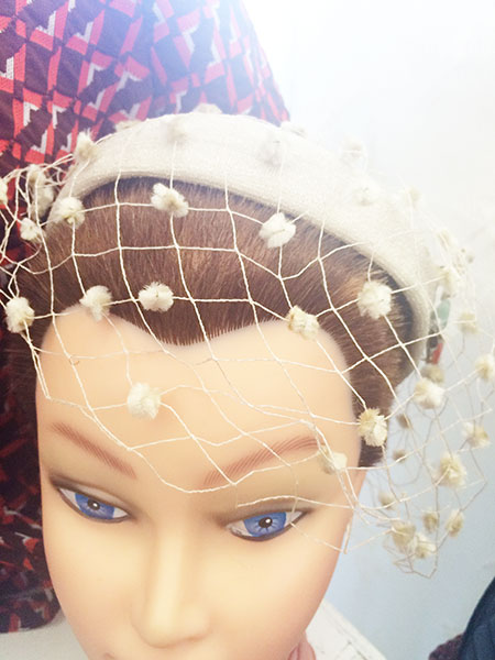 vintage hat with netting, vintage fascinator,