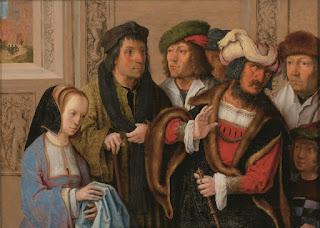 美術館 情報サイト アートアジェンダ ルカス・ファン・レイデン ヨセフの衣服を見せるポテパルの妻 1512年頃 油彩、板 Museum BVB, Rotterdam, the Netherlands