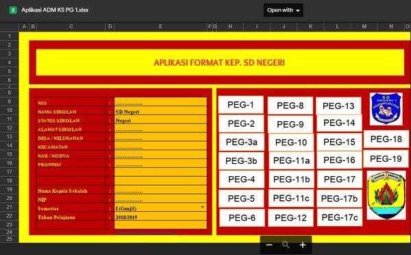Aplikasi Administrasi Kepala Sekolah Format Excel Siap Pakai