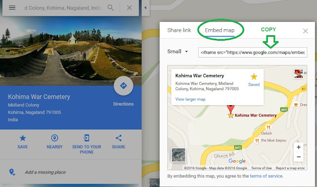 share Google Maps link or embed Google Maps to websites 3
