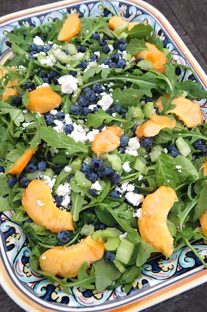 Peach, Blueberry & Arugula Salad with Feta