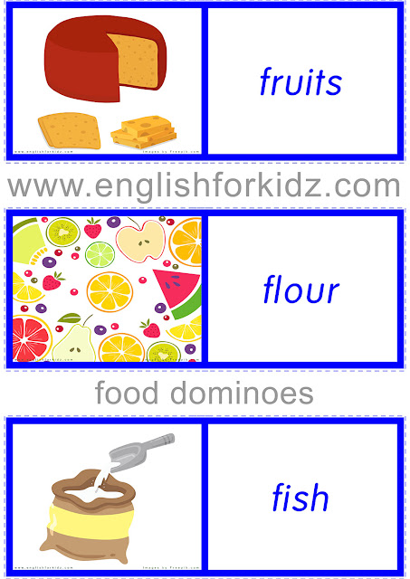 ESL food dominoes -- printable worksheets