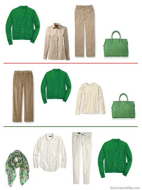 3 outfits with a bright green cardigan