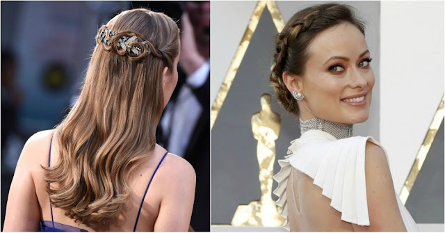 Oscar 2016, hairdo Oscar 2016, updo Oscar 2016, red carpet, 88 Academy Awards, jewel hairbarrette, side braid, braided chignon, Brie Larson, Olivia Wilde