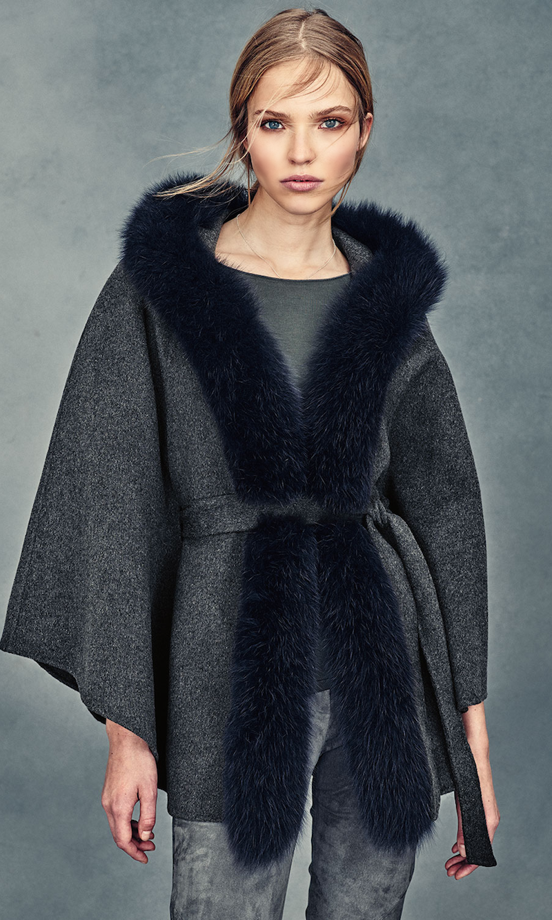 Neiman Marcus Cashmere Collection Fox-Trim Belted Cashmere Cape