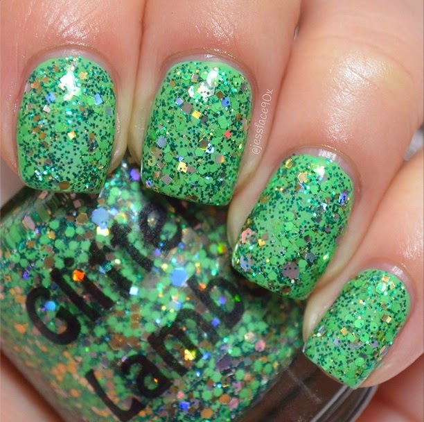 Grinch Dust Glitter Lambs Nail Polish Swatched by JessFace90x