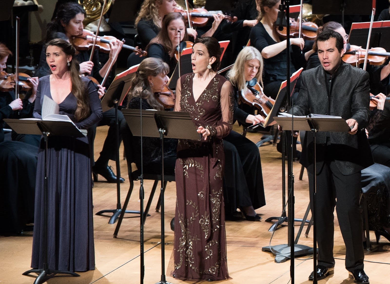 IN PERFORMANCE: Soprano JOÉLLE HARVEY as Inès, mezzo-soprano KATE LINDSEY as Léonor, and baritone JAVIER ARREY as Alphonse in Washington Concert Opera's performance of Gaetano Donizetti's LA FAVORITE in Lisner Auditorium, 4 March 2016 [Photo by Don Lassell, © by Washington Concert Opera]