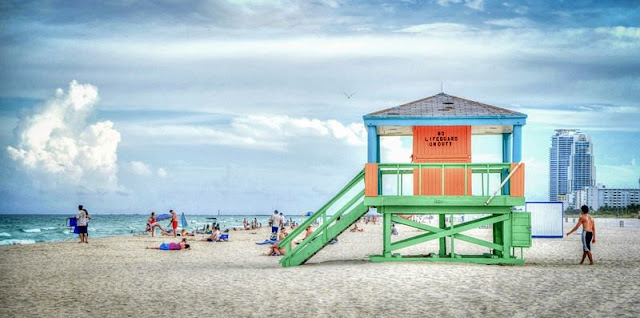 Picture of Lifeguard Post , sea and beach at South Beach Miami