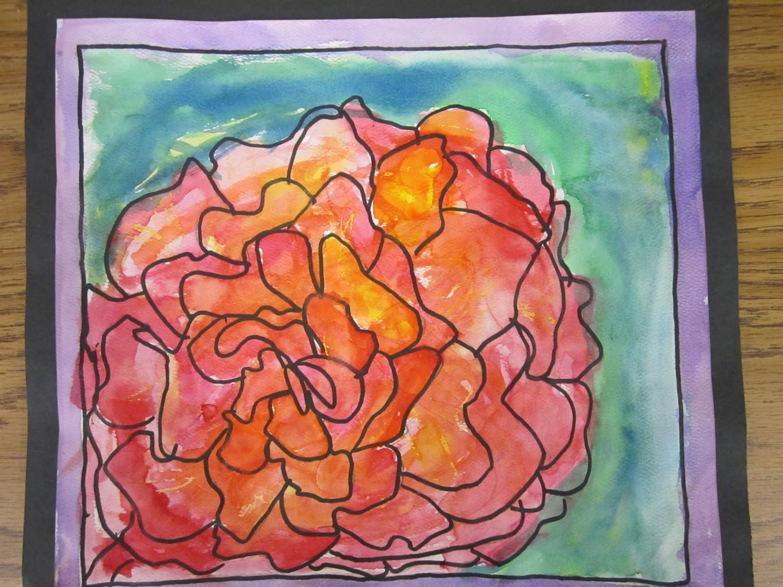 lesson plans  watercolor crayon resist flowers