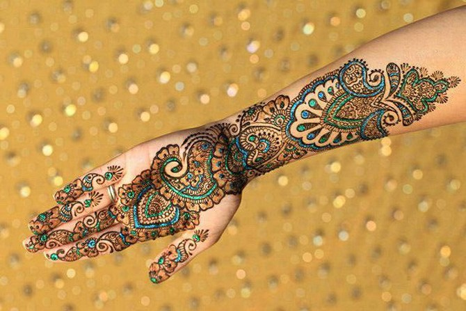 Pictures Collection Glitter And Stone Fancy Mehndi Design