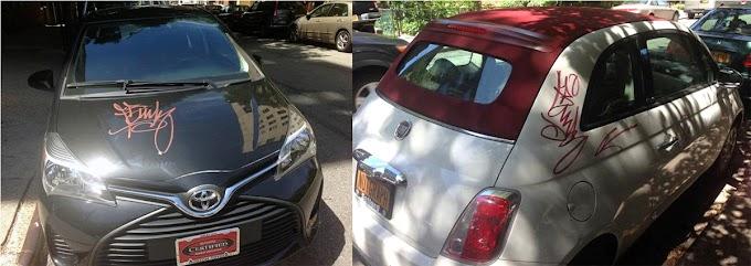 Vándalos garabatean con grafiti docenas de carros en sector del Alto Manhattan