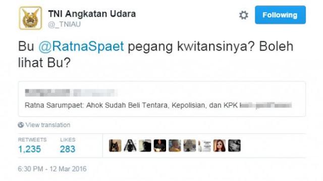 Perang Twitter Aantara TNI AU dengan Ratna Sarumpaet
