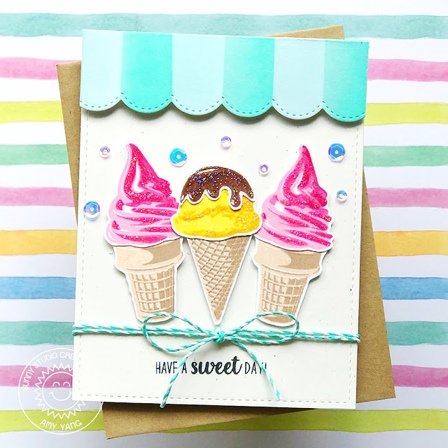 Sunny Studio Stamps: Two Scoops Ice Cream Parlor Inspired Card by Amy Yang