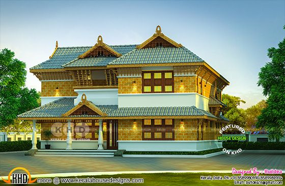4 bedroom tradional Kerala laterite stone residence