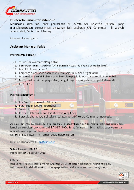 Lowongan Asmen PT. Kereta Commuter Indoneisa