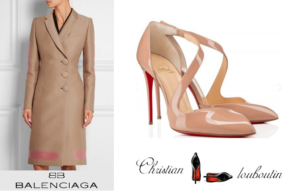 Queen Rania's Balenciaga Wool-Blend Coat And Christian Louboutin Militante Shoes