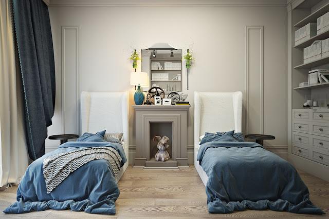 Благородный серый дизайн детской комнаты для двух девочек