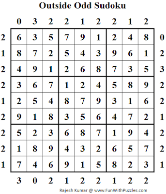 Outside Odd Sudoku (Daily Sudoku League #97) Solution