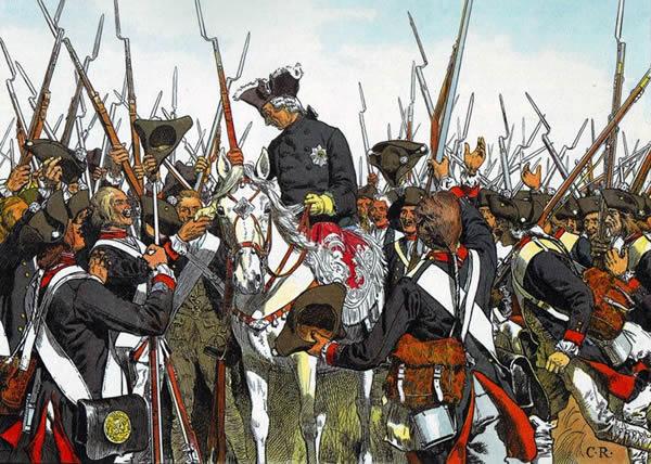 Frederick the Great restores the regimental honours of the Regiment Bernberg after the battle of Liegnitz