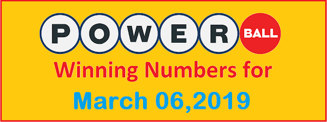 PowerBall Winning Numbers for Wednesday, 06 March 2019