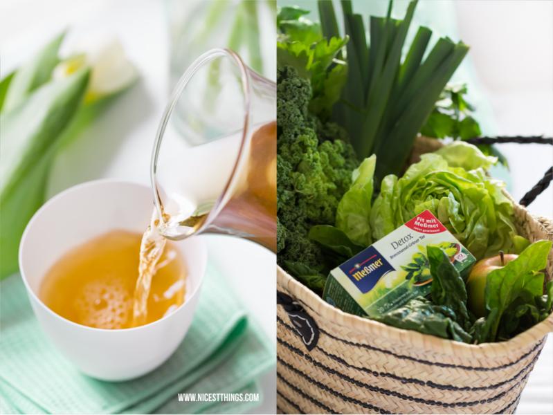 Korb mit Gemüse und Meßmer Detox Tee