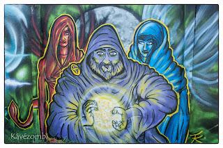 Fantasy hősök graffitis ábrája Szegeden