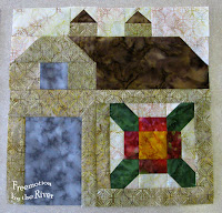 Quilty Barn Along at Freemotion by the River block 1 in batiks