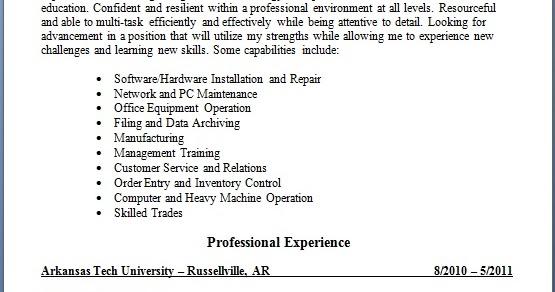 hardware installation and repair sample resume format in